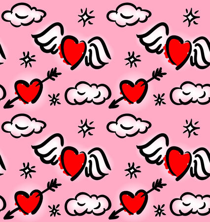 Seamless pattern with hearts flying in the clouds Vector