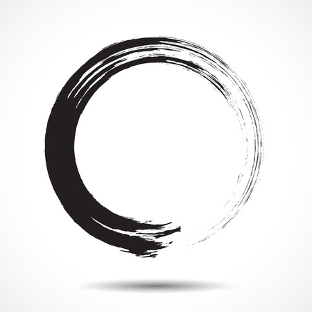 Brush painted black ink circle on white background Stock fotó - 35539439