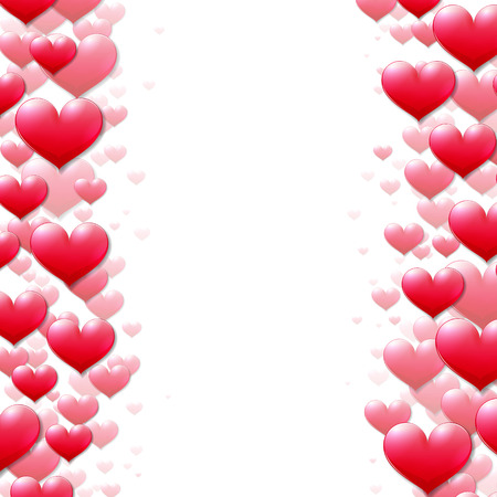 Valentines Day card with scattered purple hearts at the sides Vector