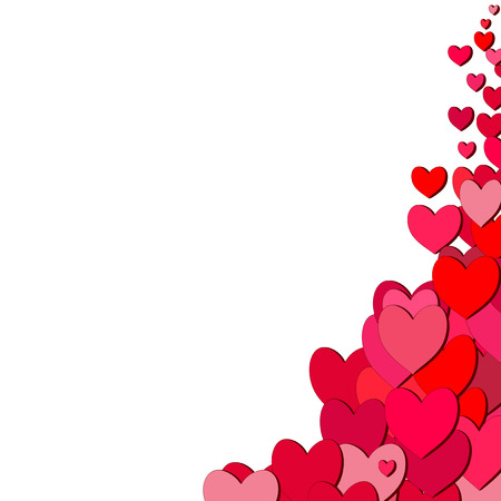 sprayed: Valentines Day card with random sprayed hearts in the corner