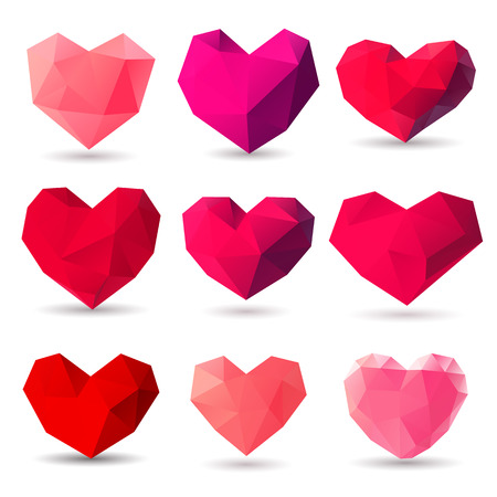 heart diamond: Set of heart gem symbols for Valentines Day
