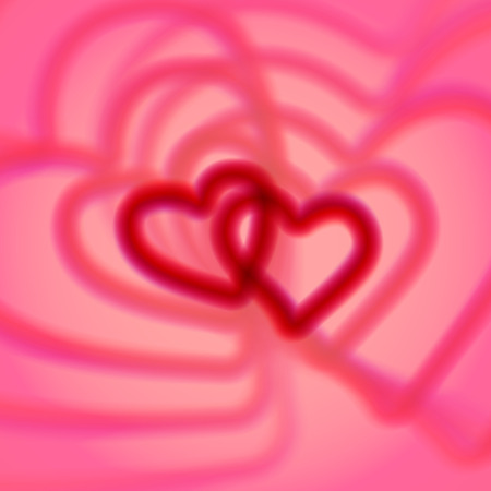 aberrations: Retro pink heart couple with colorful aberrations