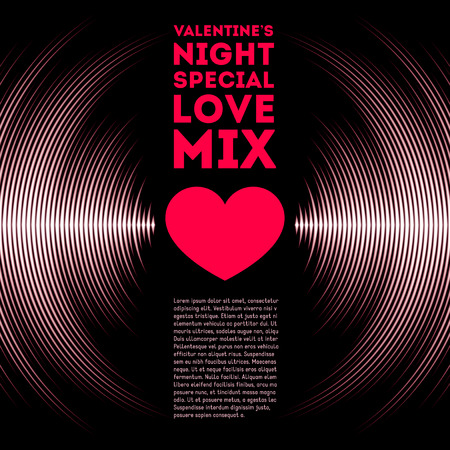 electronic music: Night themed Valentines Day card with vinyl tracks and red heart Illustration