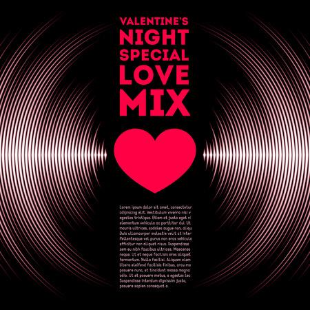 musica electronica: Noche temática de la tarjeta del día de San Valentín con pistas de vinilo y el corazón rojo