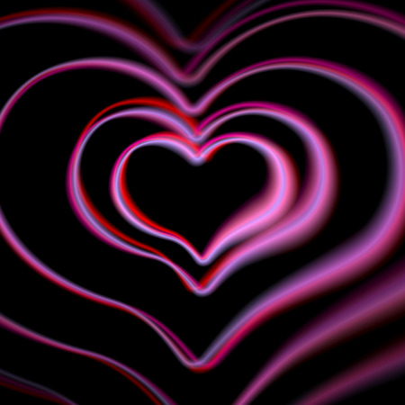 aberrations: Retro pink heart card with colorful aberrations