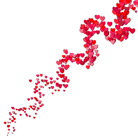 scattered: Valentines Day swirl of random scattered hearts Illustration