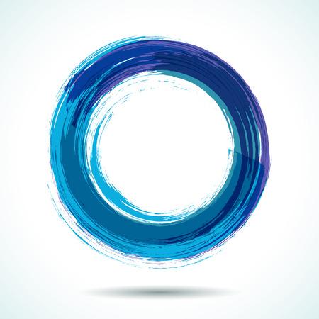 青い海テーマ ブラシ塗装水彩画円