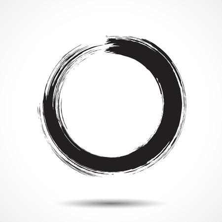 ブラシ塗装白い背景に黒のインク円