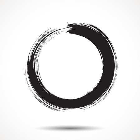 Brush painted black ink circle on white background Vector