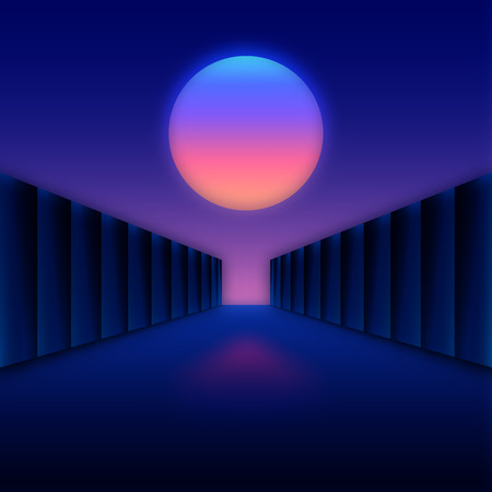 moon gate: Retro styled digital futuristic landscape with moon and dark corridor gate