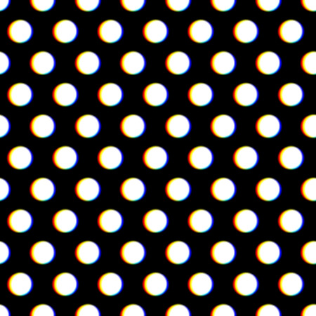 aberrations: Seamless polka dot pattern with blurred circles and chroma aberration Illustration