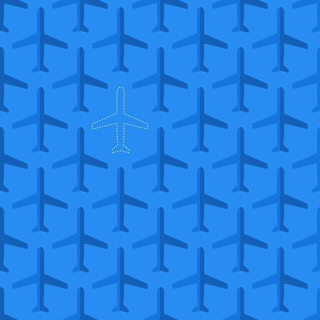 disappeared: Flat styled aviation seamless pattern with missing plane