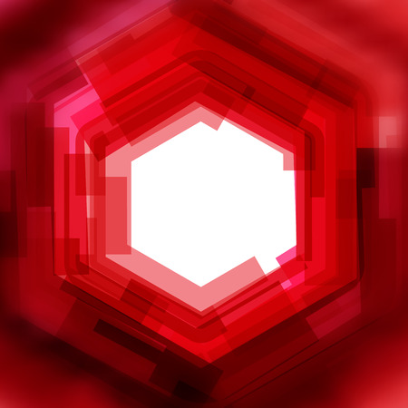 hex: Vector background with red hex lines and blurred edge
