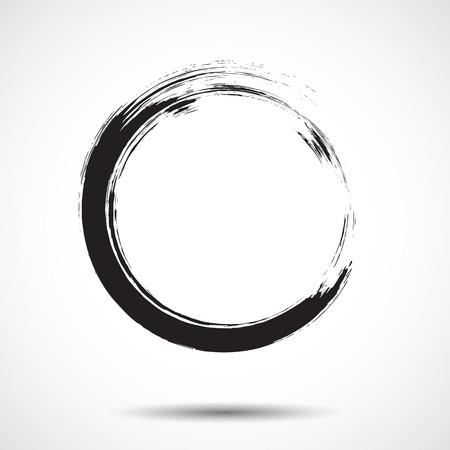 白い背景に黒いインクの円を塗ったブラシ  イラスト・ベクター素材