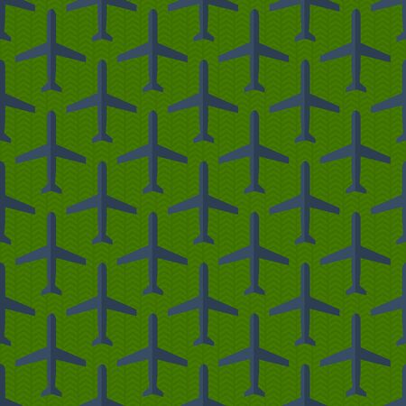 Seamless pattern with many flat styled military planes on the ground Vector