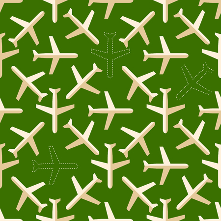 Flat styled aviation seamless pattern with missing planes on the ground