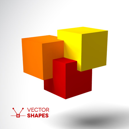 intersecting: 3D icon with bright colored cubes. Red, orange and yellow