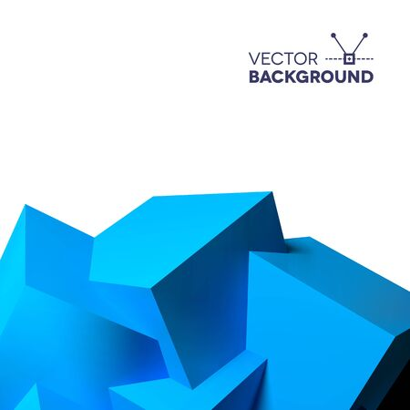 Abstract background with realistic 3D overlapping blue cubes at the bottom Vector