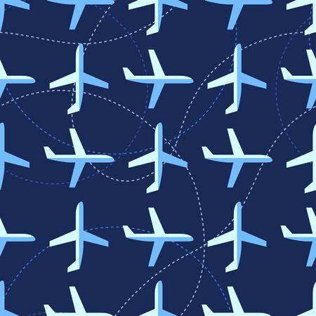 Seamless pattern with many flat styled planes Vector