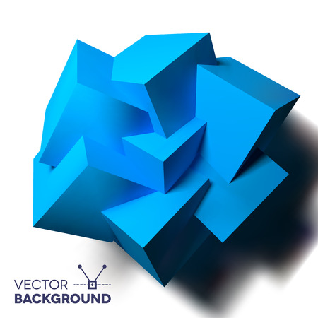 3d flower: Abstract background with realistic 3D overlapping blue cubes flower Illustration