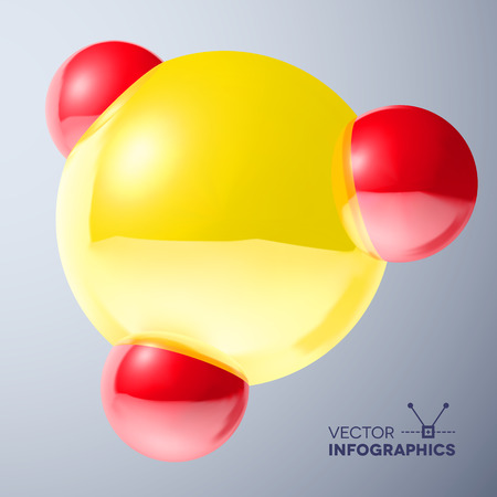 Glossy connected 3D red and yellow balls molecule sign with reflections Vector