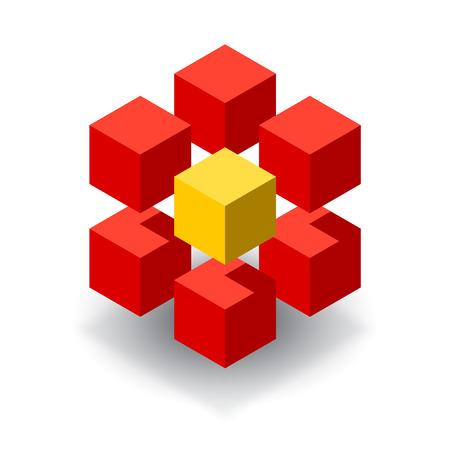 노란색 세그먼트와 레드 큐브 3D 로고