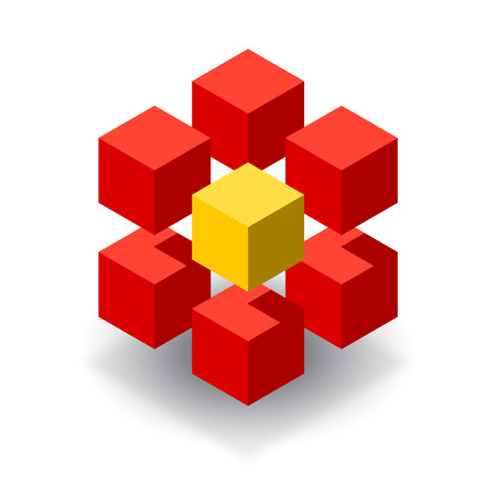 Red cubes 3D logo with yellow segment 免版税图像 - 37754272