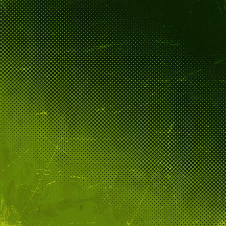 Viejo verde rayado tarjeta de papel con gradiente semitonos Vectores