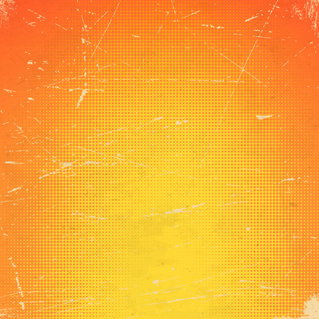 Old orange scratched paper card with halftone gradient
