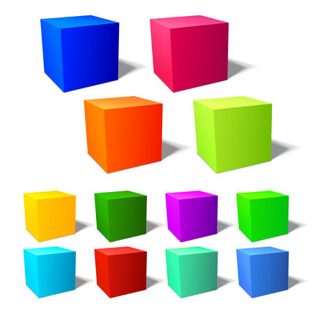 Set of brignt 3d cubes with harmonic color combinations Vector