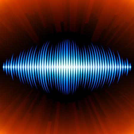 vibrations: Blue shiny sound waveform with shiny peaks and orange background