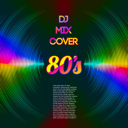 music dj: 80s style party DJ mix cover with music waveform as a vinyl grooves Illustration