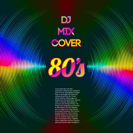 party dj: Le style des ann�es 80 couvercle parti DJ mix avec de la musique en tant que forme d'onde rainures de vinyle