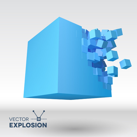 Vector 3D cube object explosion with cubical particles