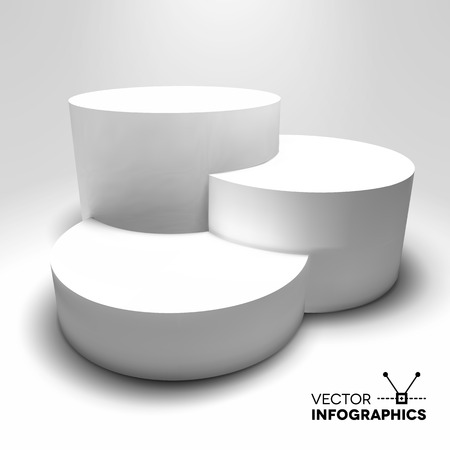 Infographic vector white 3D pedestal or graph Vettoriali
