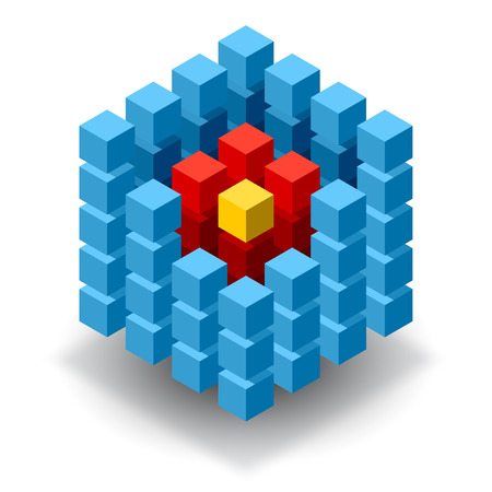 cubic: Blue cube logo with red and yellow segments