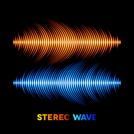 vibrations: Blue and orange stereo sound or music waveform