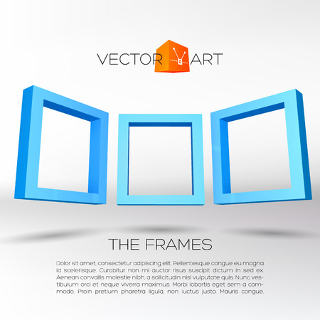 Three blue rectangular 3D frames for your presentation Vector
