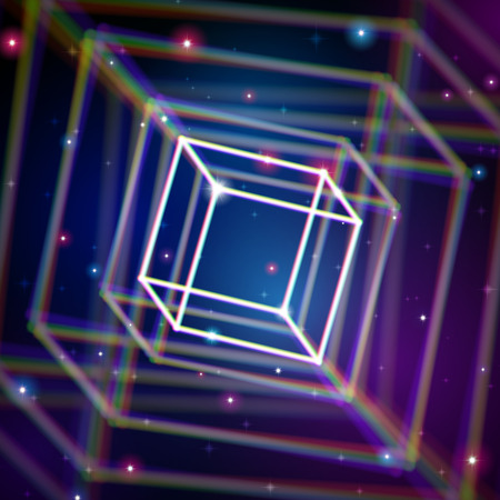 aberrations: Shiny cube structure with color aberrations in space