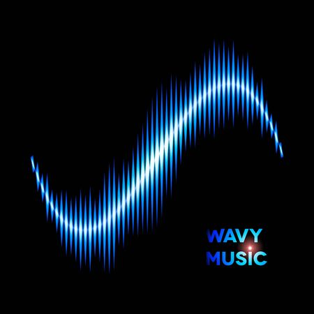 sine wave: Blue wave shaped sound or music waveform