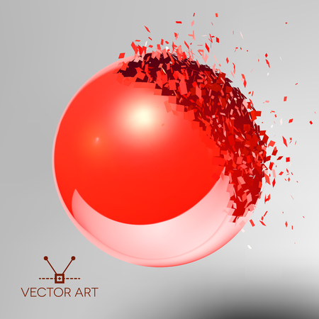 exploded: Red 3D ball with reflection exploded into messy pieces
