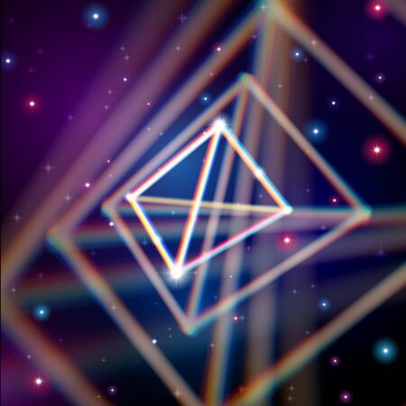 aberrations: Shiny pyramid structure with color aberrations in space