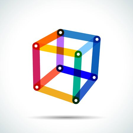 Abstract cube logo with intersecting transparent lines and dots