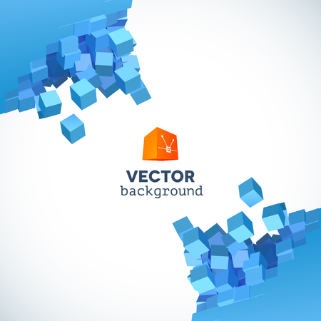 cubic: Vector 3D object explosion background with cubic particles in the corners Illustration