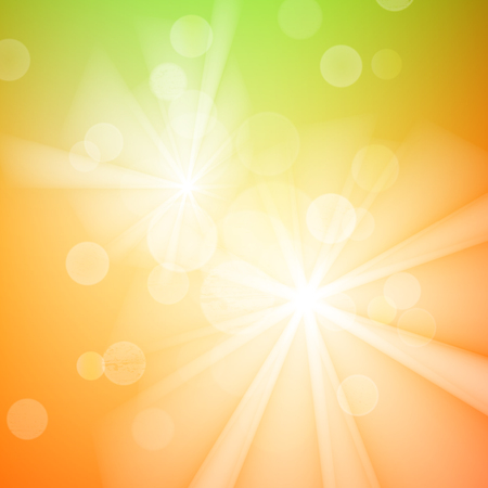 filtered: Abstract bokeh sparkles on yellow and green blurred background Illustration