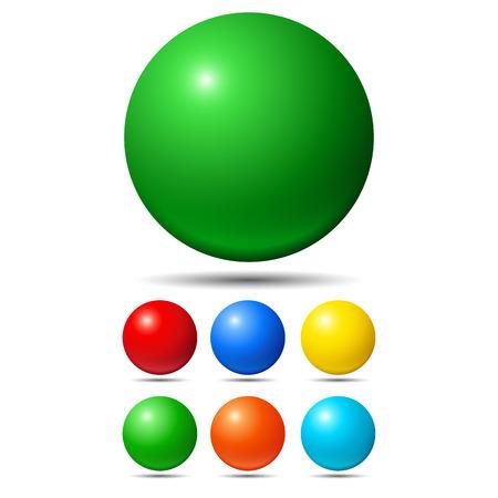 pelota: Conjunto de bolas de colores brillantes. Verde, rojo, amarillo y cian Vectores