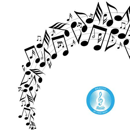 nota musical: Tarjeta con giro de notas musicales diseminados desordenados sobre pentagrama Vectores