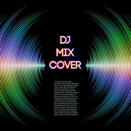 DJ는 비닐 홈으로 음악 파형으로 커버를 혼합