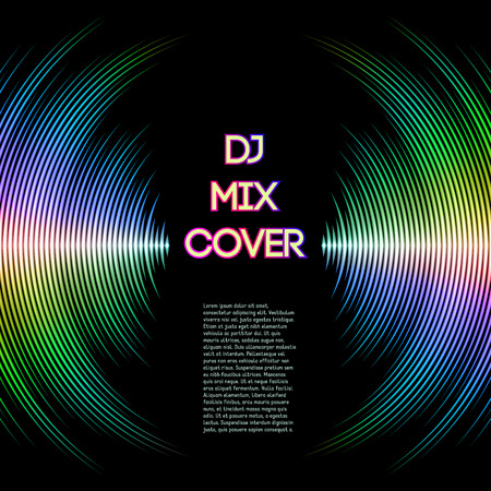 vibrations: DJ mix cover with music waveform as a vinyl grooves