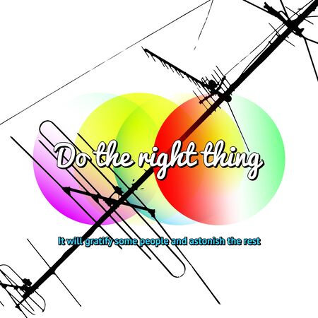 twain: Modern styled retro digital poster with typographic quote of Mark Twain with colorful circles and antenna